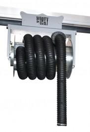 Sliding hose reel on overhead rail
